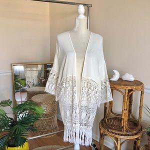 Rue 21 Boho Lace Fringe Oversized Kimono S